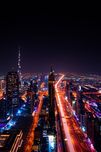 Dubai Cityscape Buildings Lights 8k