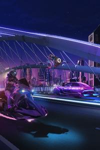 750x1334 Dubai Night Ride Scifi 4k