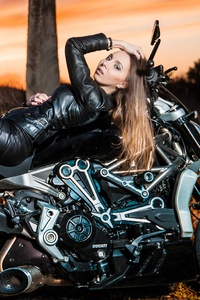1280x2120 Ducati Diavel And Girl