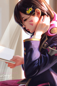 1080x1920 Dva Overwatch Reading Book