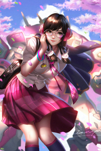 720x1280 Dva Overwatch School Girl
