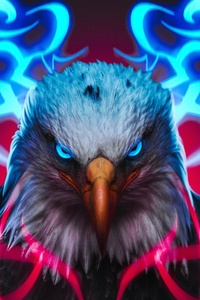 Eagle Glowing Angel Eyes 4k