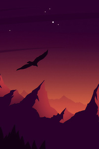 320x480 Eagle Landscape Mountains Minimalist