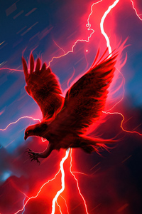 240x400 Eagle Struck By Lightning 4k