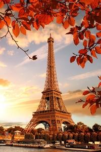 1125x2436 Eiffel Tower Autumn Season 4k 5k