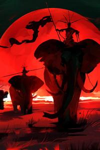 Elpehant Red Moon Digital Art 4k