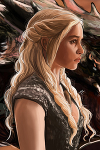 Emilia Clarke Daenerys Targayen And Dragon Artwork 5k