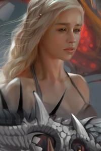 1125x2436 Emilia Clarke Daenerys Targayen Dragon