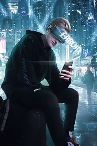320x568 Error In City Cyberpunk Boy 4k