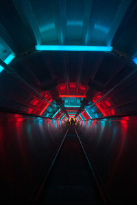 750x1334 Escalator Tunnel Dark Neon