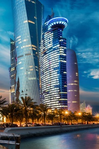 480x854 Evening Houses Skyscrapers Qatar 5k