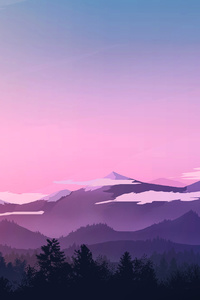 640x960 Evening Landscape Minimal 4k