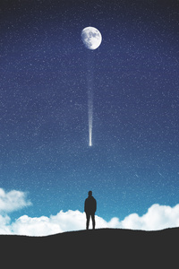 720x1280 Falling Moon 4k