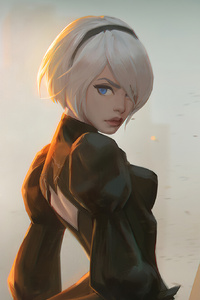 320x568 Fan Art Of 2B From Nier
