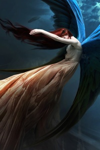 Fantasy Angel Redhead Wings