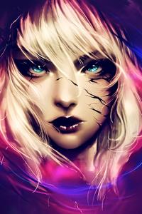 Fantasy Blonde Hair Blue Eyes Artwork