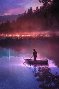 Fantasy Dreamy World Guy On Boat