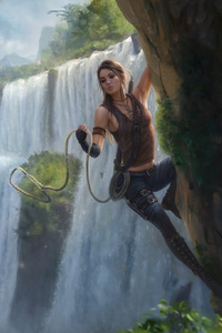 Fantasy Girl Climbing Through The Waterfall