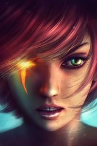 Fantasy Girl Horns Red Head Green Eyes