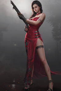 1242x2688 Fantasy Girl In Red Dress With Gun 4k