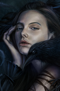 Fantasy Girl With Crow On Her Shoulder