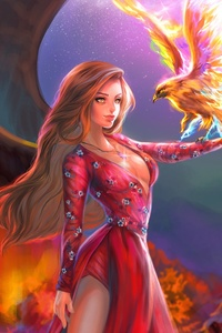 240x320 Fantasy Girl With Phoenix