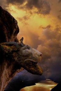 Fantasy Lion Head Artistic Top View Mountains