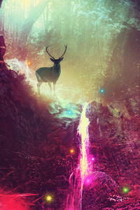 Fantasy Magic Deer Artwork 4k