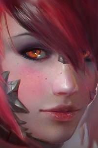 240x320 Fantasy Short Hair Orange Eyes Girl