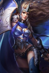 Fantasy Warrior Girl With Shield And Sword