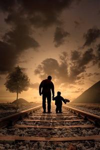 1440x2560 Father Son Walking Railraod