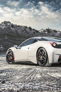 640x1136 Ferrari 458 Italia White