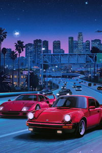 480x800 Ferrari Beside A 911 80s Vibes