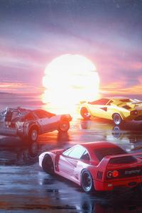 480x800 Ferrari F40 Delorean And Lambo Retro 4k
