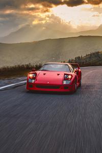 720x1280 Ferrari F40 Highway Mountain 5k
