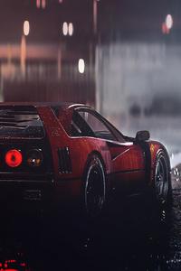 1125x2436 Ferrari F40 Rain 4k