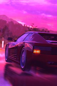 Ferrari Sports Car Retrowave Art 4k