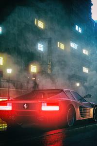 1080x2160 Ferrari Testarossa Digital Art 4k
