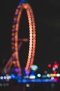 Ferris Wheel Bokeh Effect Lights Night Dark