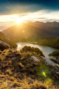 640x1136 Fiordland Mountain Sunrise