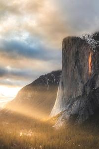 1440x2560 Firefalls At Yosemite National Park 4k