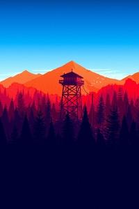 640x960 Firewatch Forest Mountains Minimalism 4k