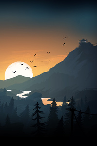 Firewatch Sun Trees Mountains Birds Lake Evening