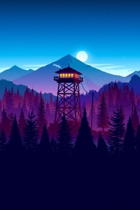 720x1280 Firewatch Sunset Artwork