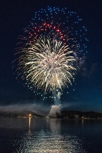 1242x2688 Fireworks Explosion Above Water Body 8k