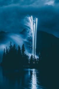 480x854 Fireworks Landscape 5k