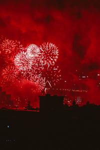 1242x2688 Fireworks Red Evening Festival Explosion 4k