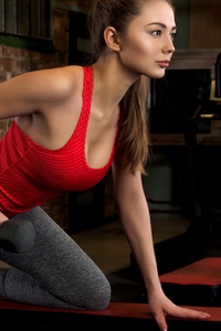 Fitness Girl Doing Workout Dumbbells 5k