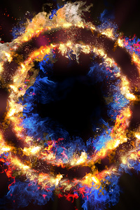 480x800 Flame Circle 3d Abstract 5k