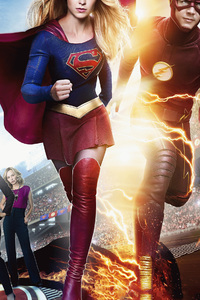 1125x2436 Flash And Supergirl 2018
